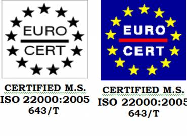 Certification of Mediterranean Foods SA from EUROCERT (11/2017)