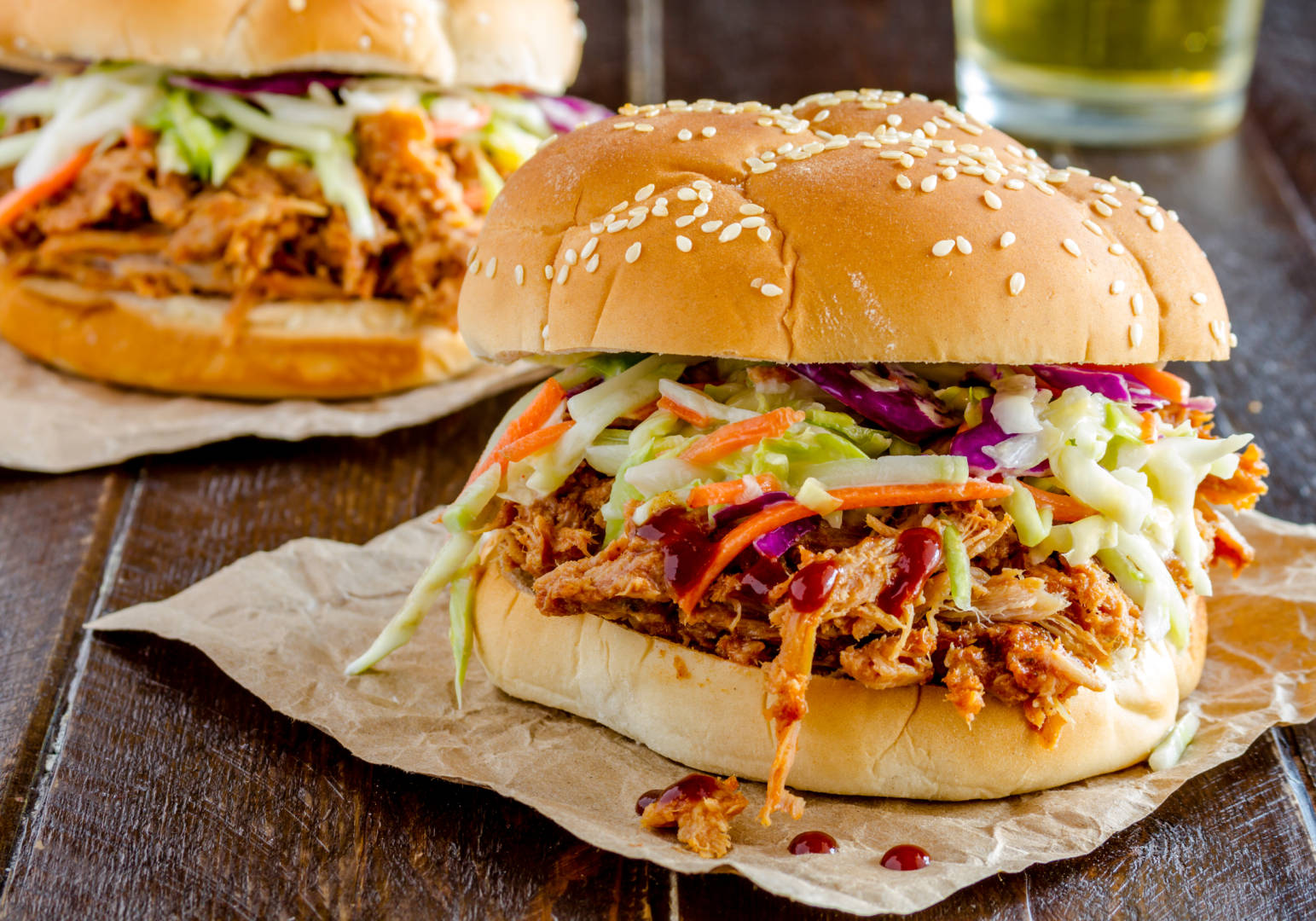 Pork sandwich with BBQ Sauce and coleslaw