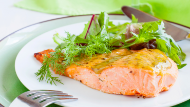 Roasted salmon with Honey Mustard sauce